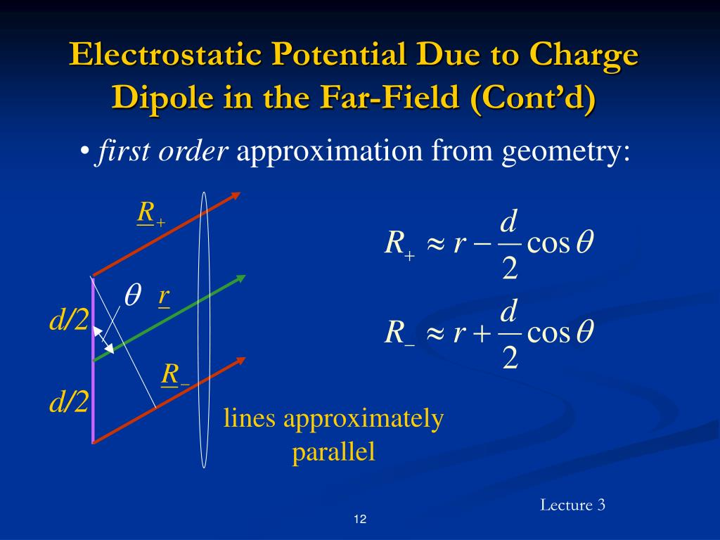 Electrostatic Potential Due to Charge Dipole in the Far-Field (Cont'd)