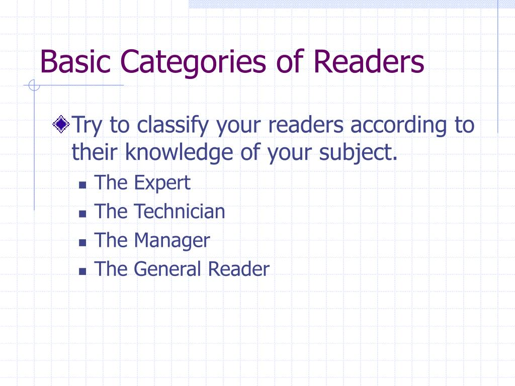 Basic Categories of Readers