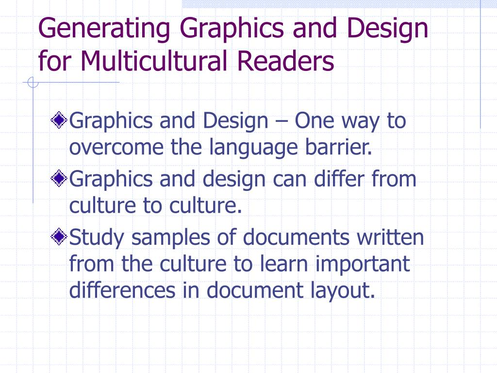 Generating Graphics and Design for Multicultural Readers