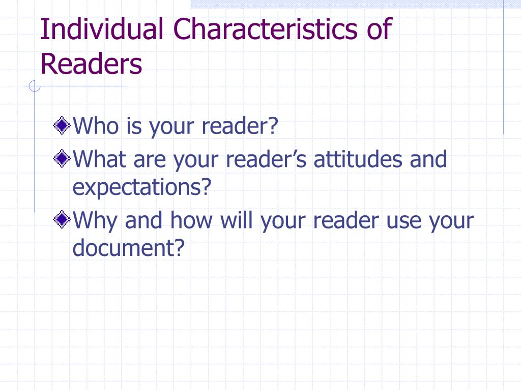 Individual Characteristics of Readers