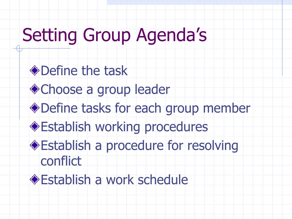 Setting Group Agenda's