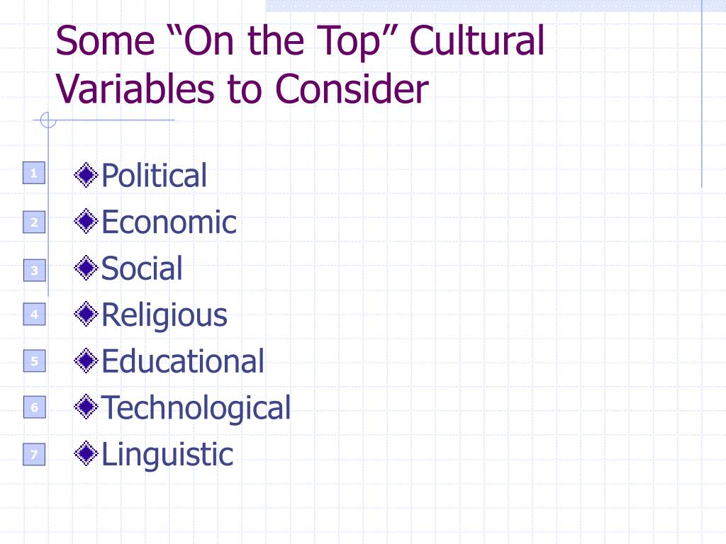 "Some ""On the Top"" Cultural Variables to Consider"