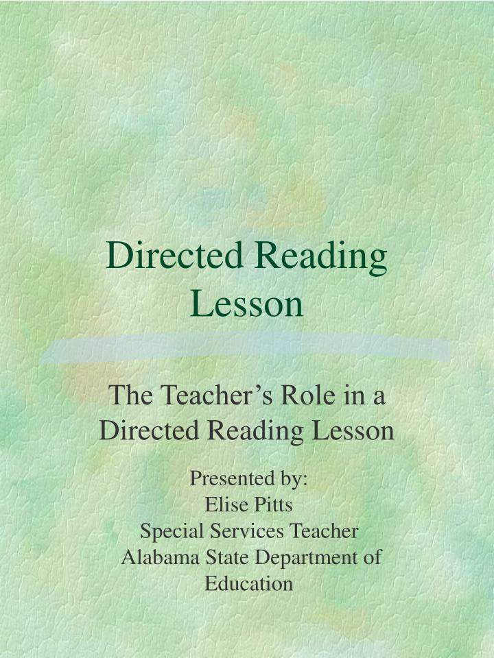 Directed reading lesson