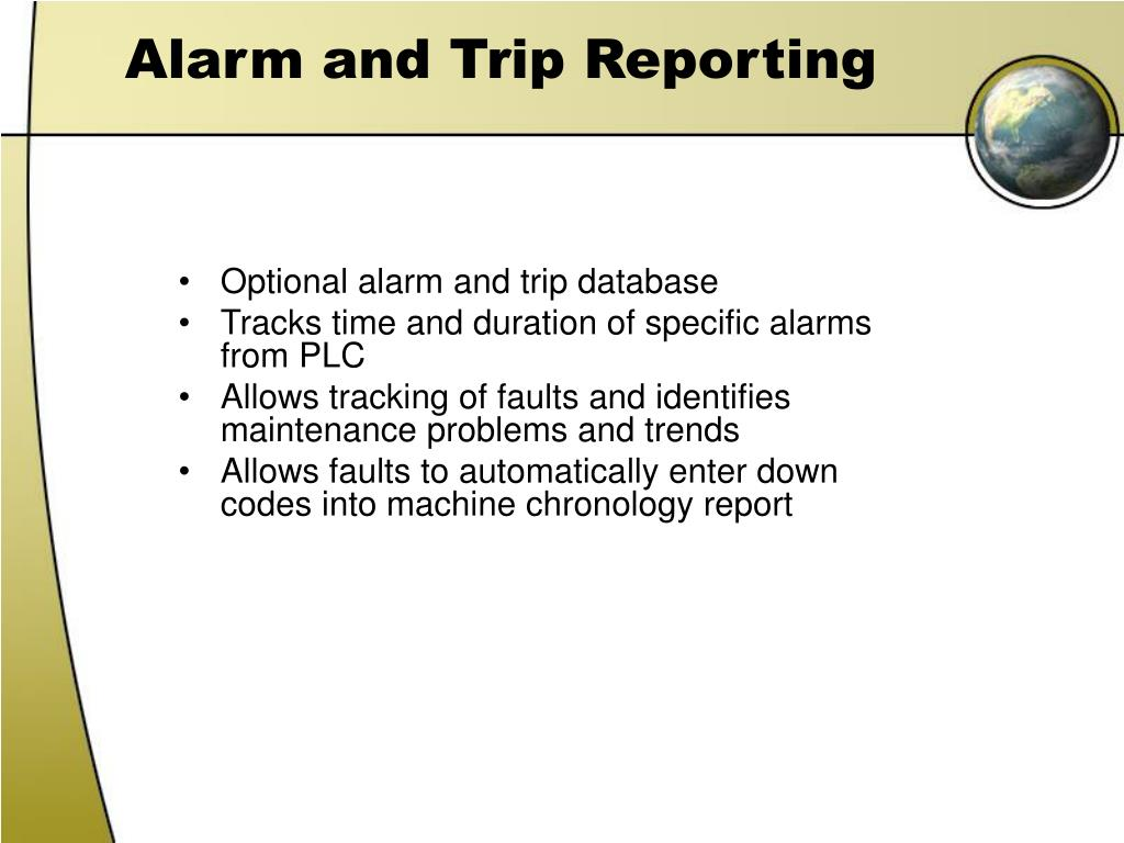 Alarm and Trip Reporting