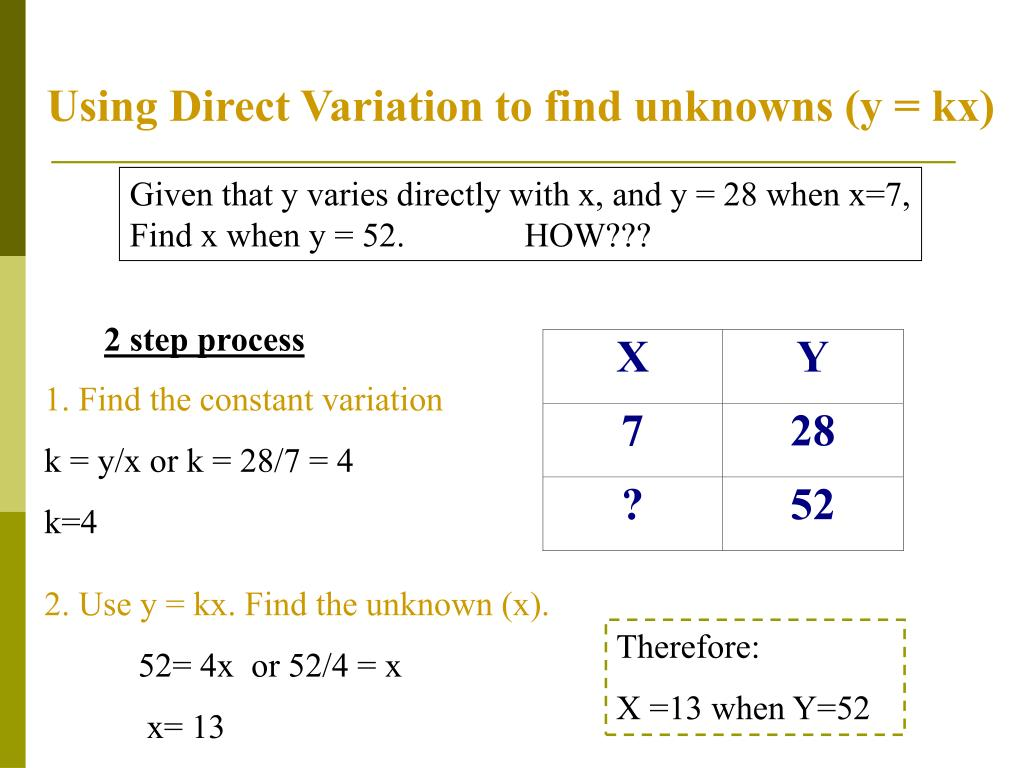 Using Direct Variation to find unknowns (y = kx)