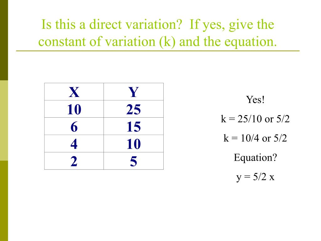 Is this a direct variation?  If yes, give the constant of variation (k) and the equation.