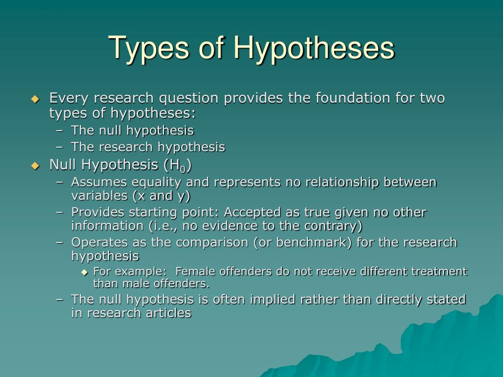 types of hypotheses Understand the structure of hypothesis testing and how to understand and make a research, null and alterative hypothesis for your statistical tests.