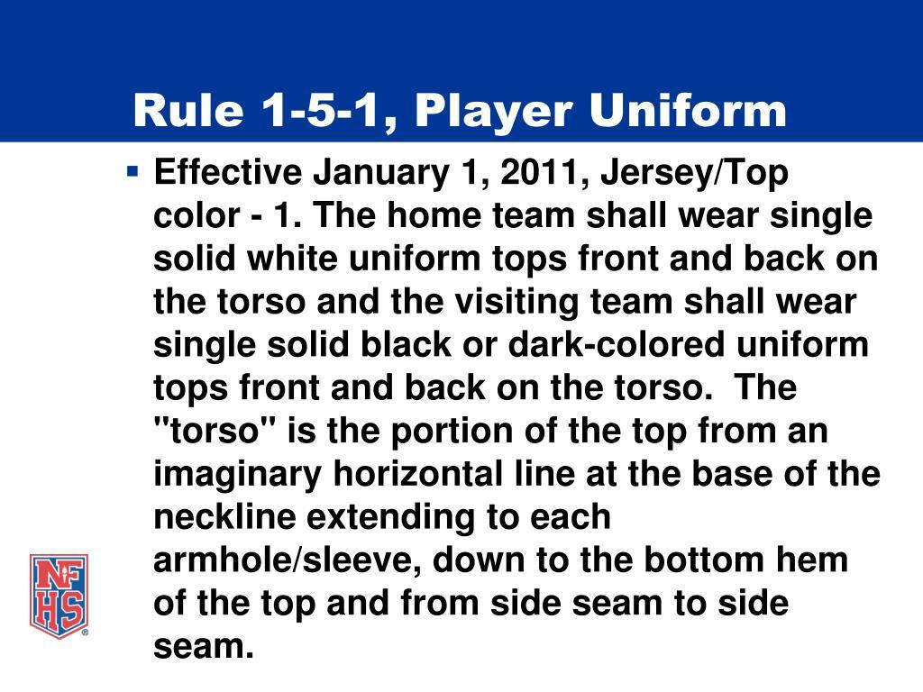 Rule 1-5-1, Player Uniform