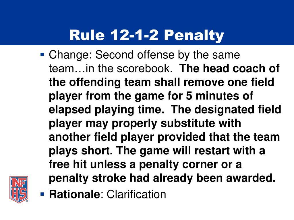 Rule 12-1-2 Penalty