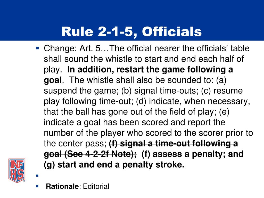 Rule 2-1-5, Officials