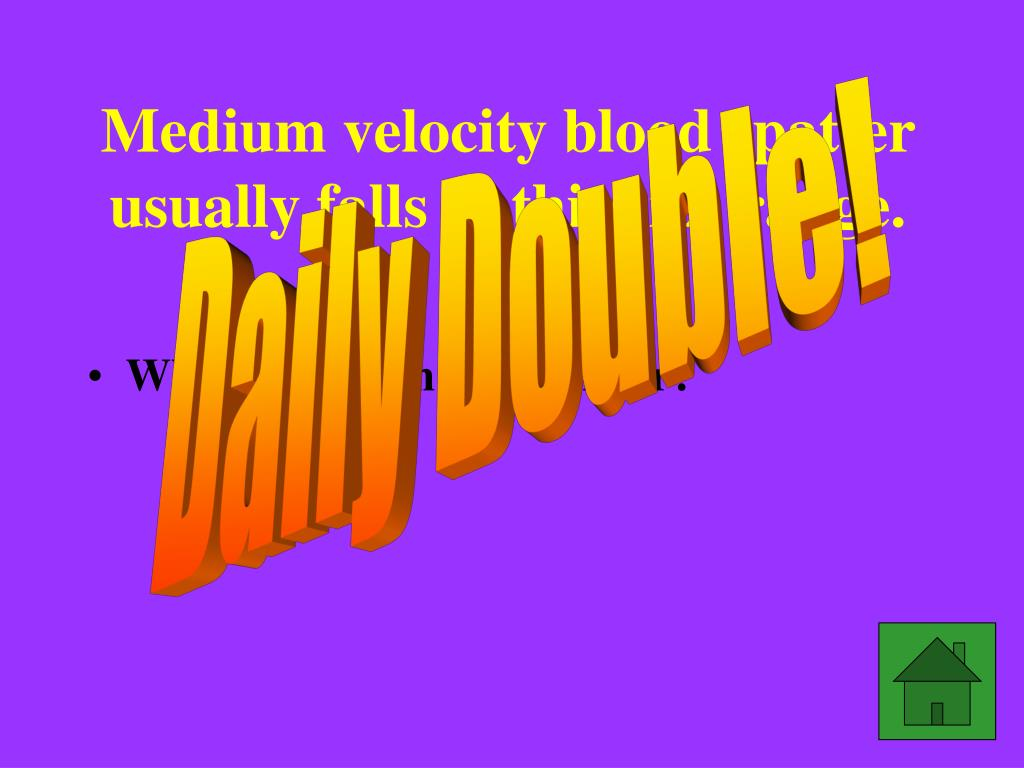 Medium velocity blood spatter usually falls in this size range.