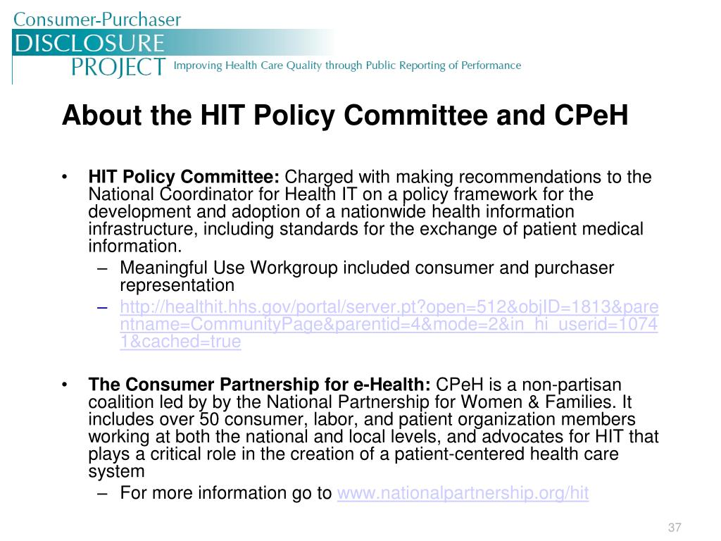 About the HIT Policy Committee and CPeH
