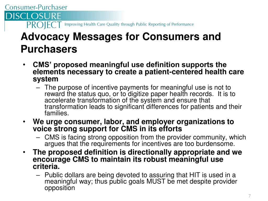 Advocacy Messages for Consumers and Purchasers