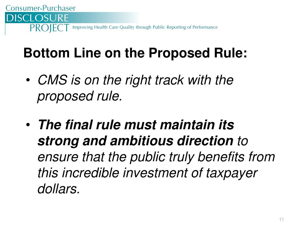 Bottom Line on the Proposed Rule: