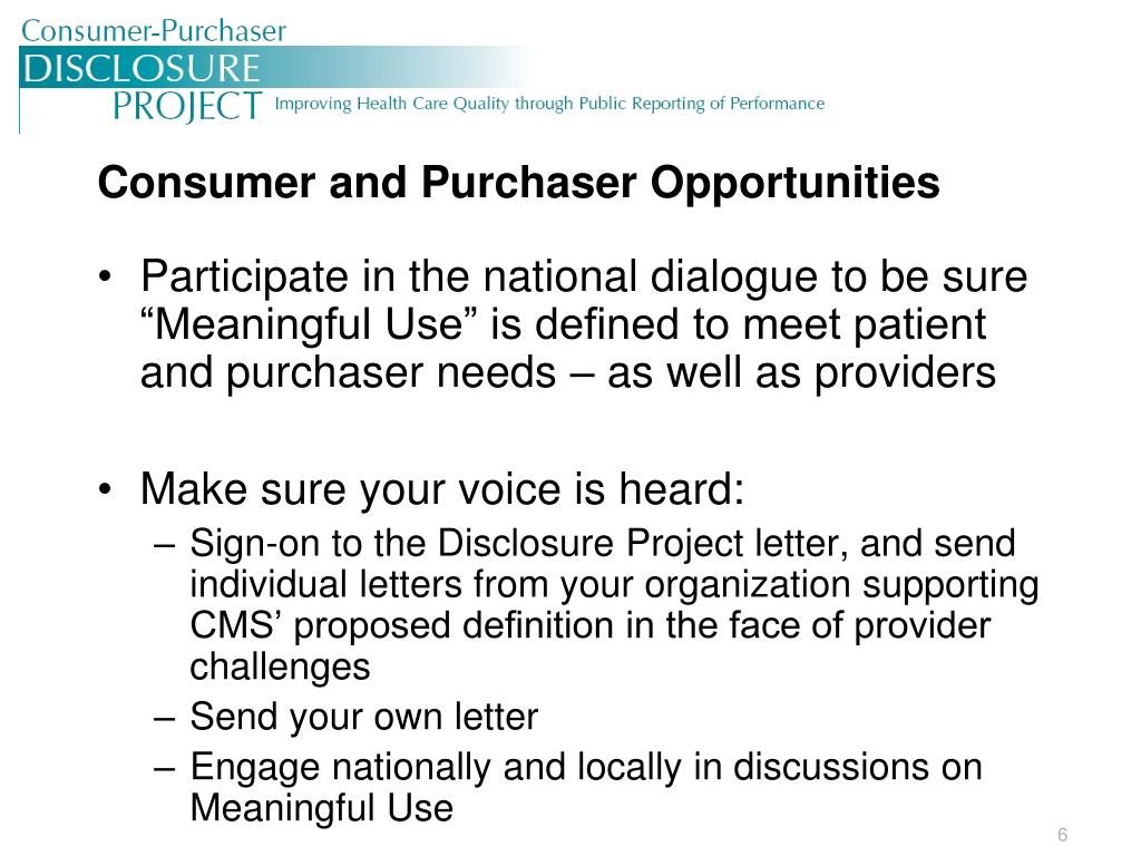 Consumer and Purchaser Opportunities