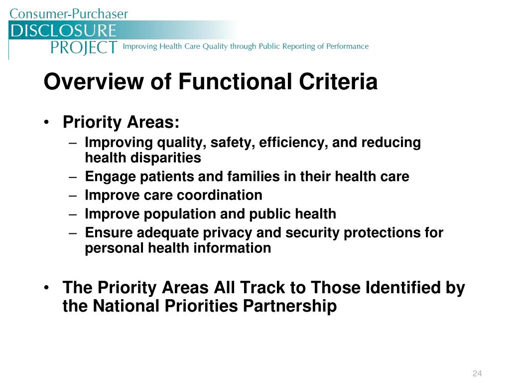 Overview of Functional Criteria