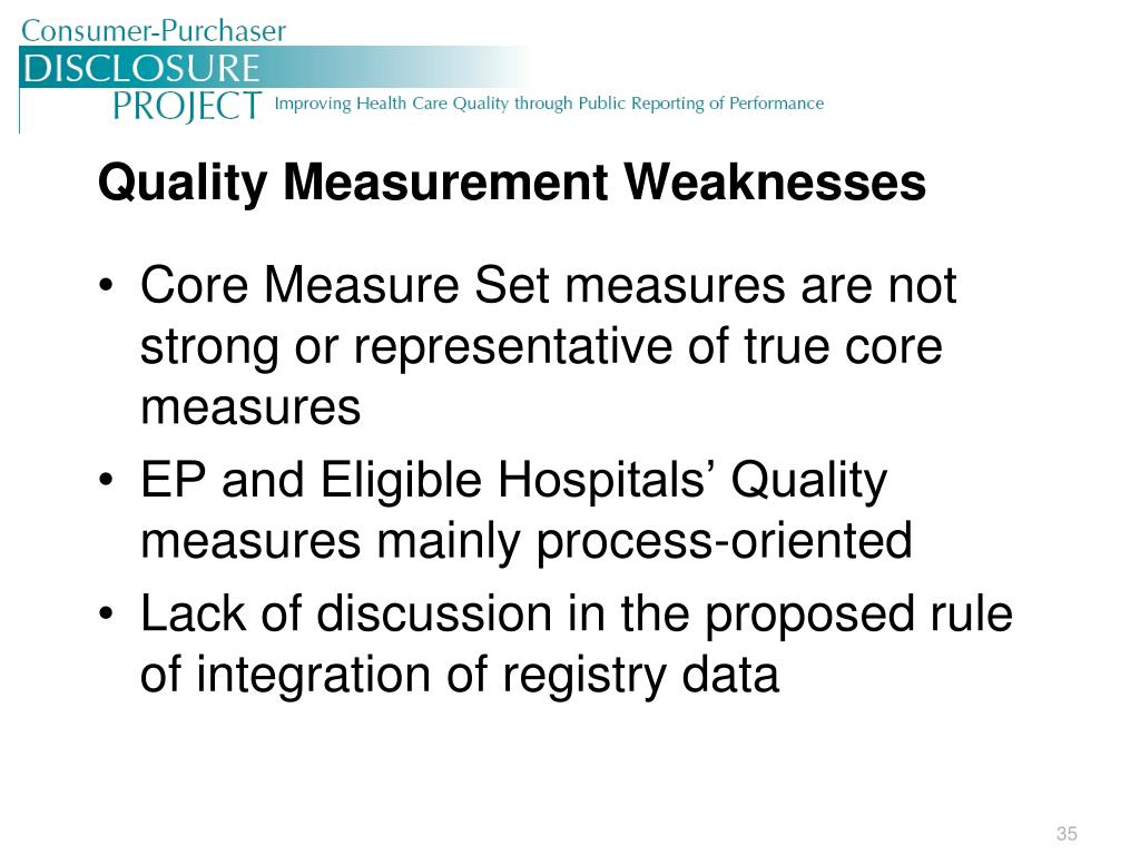 Quality Measurement Weaknesses