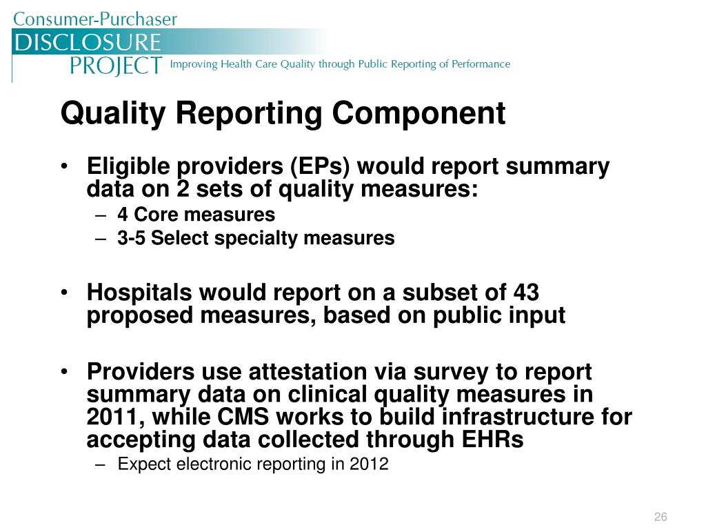 Quality Reporting Component