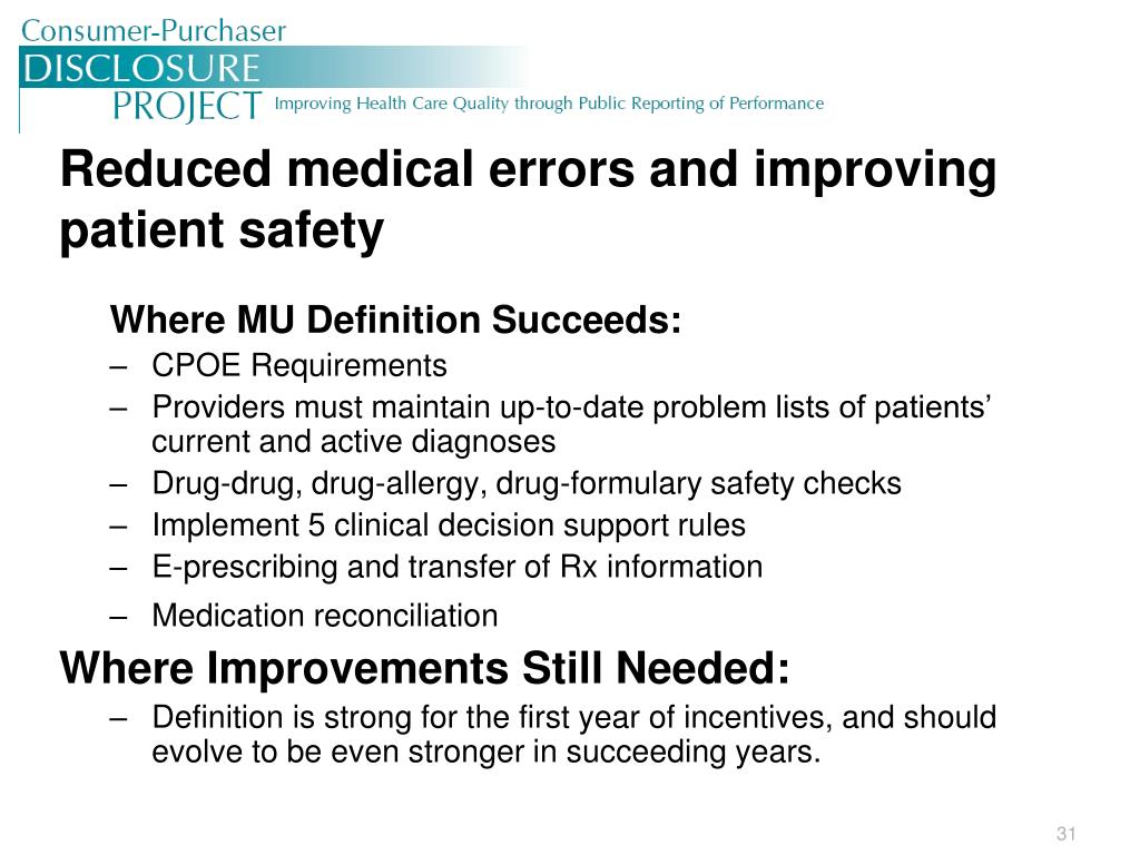 Reduced medical errors and improving