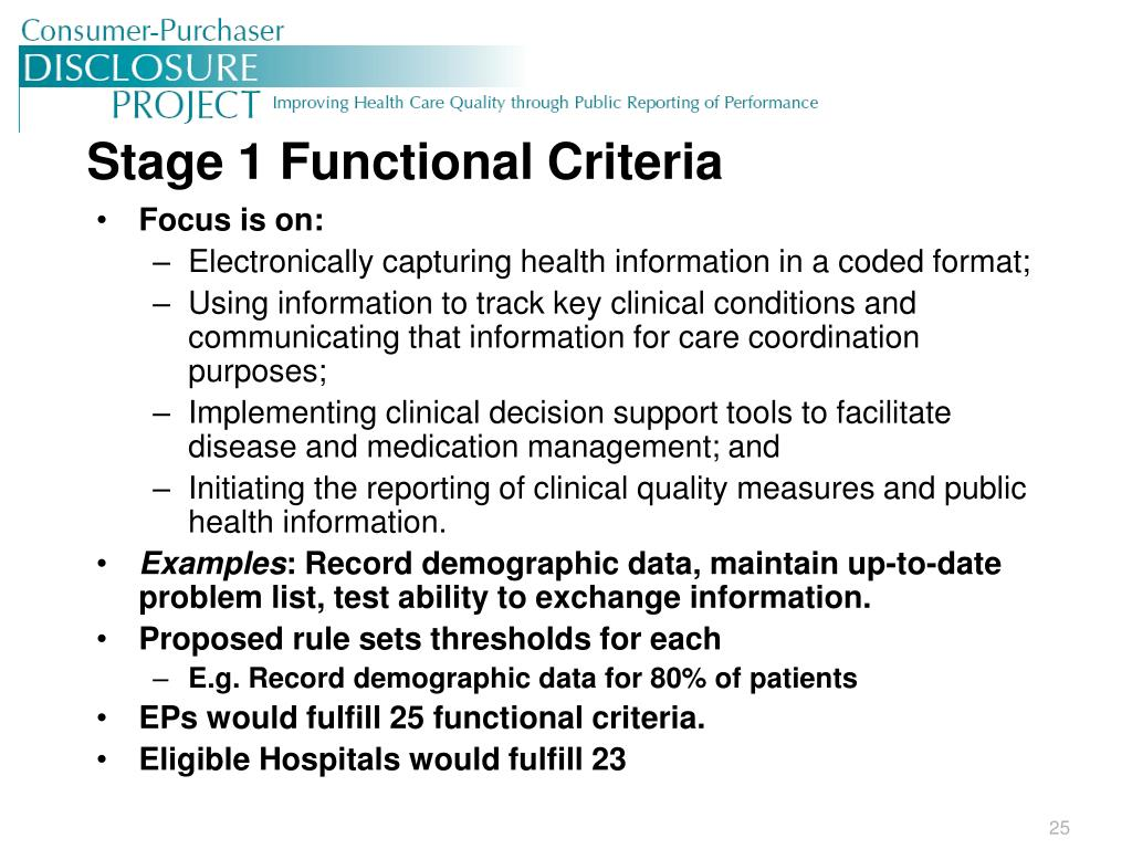 Stage 1 Functional Criteria