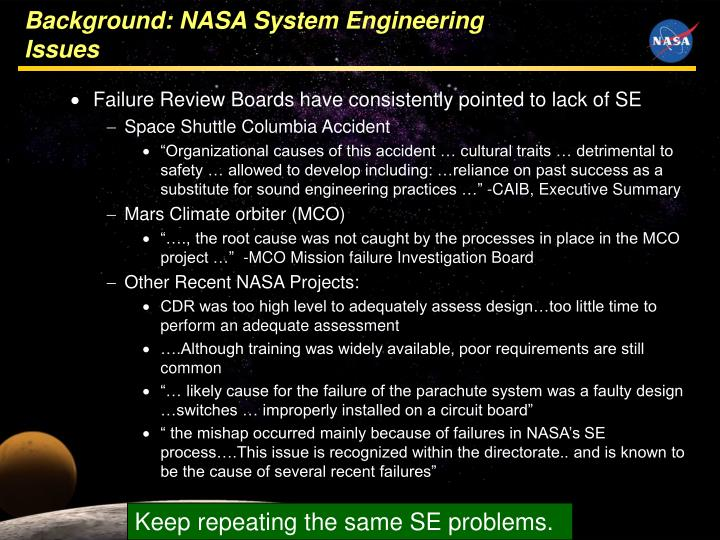 Background nasa system engineering issues l.jpg