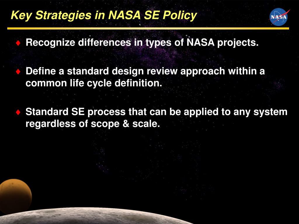 Key Strategies in NASA SE Policy