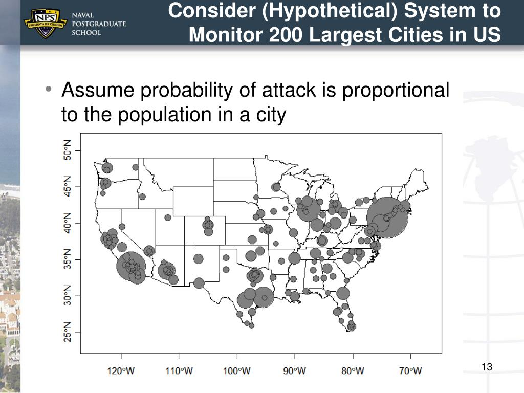 Consider (Hypothetical) System to Monitor 200 Largest Cities in US