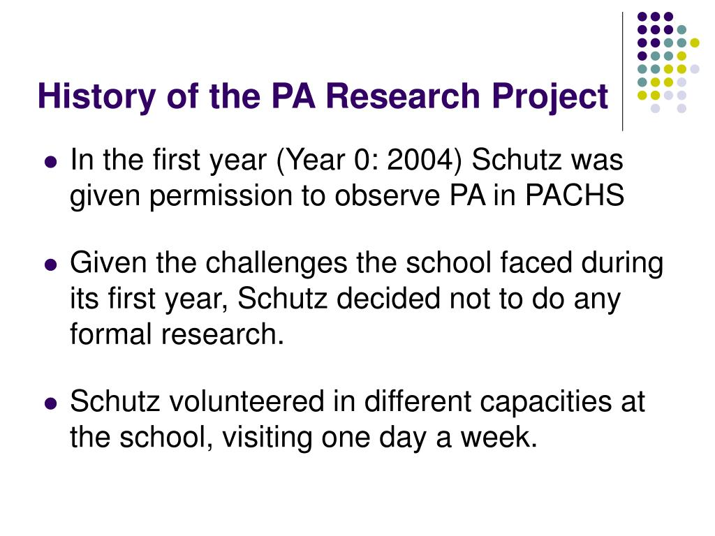 History of the PA Research Project