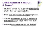 i what happened in year 2 6 groups