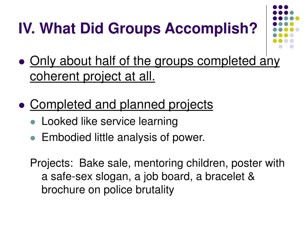 IV. What Did Groups Accomplish?