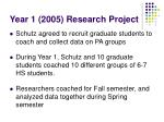 year 1 2005 research project