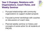 year 2 changes relations with organizations coach roles and weekly seminar