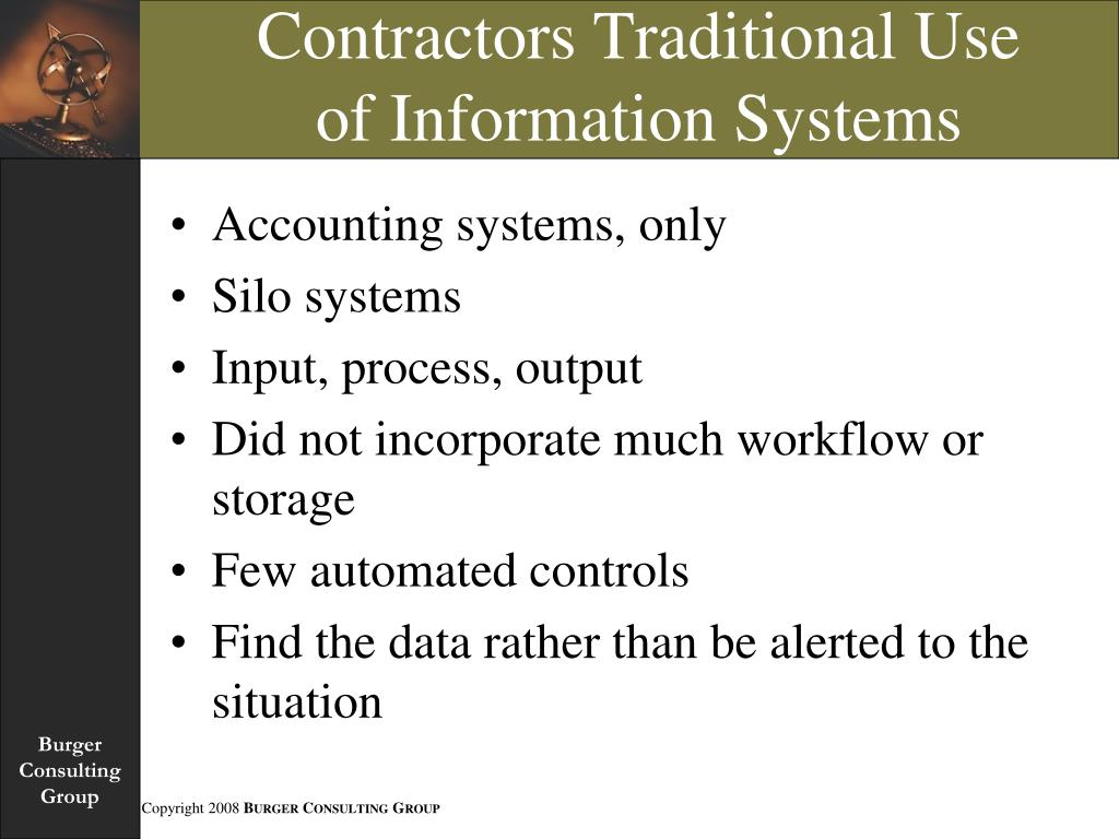 Contractors Traditional Use of Information Systems