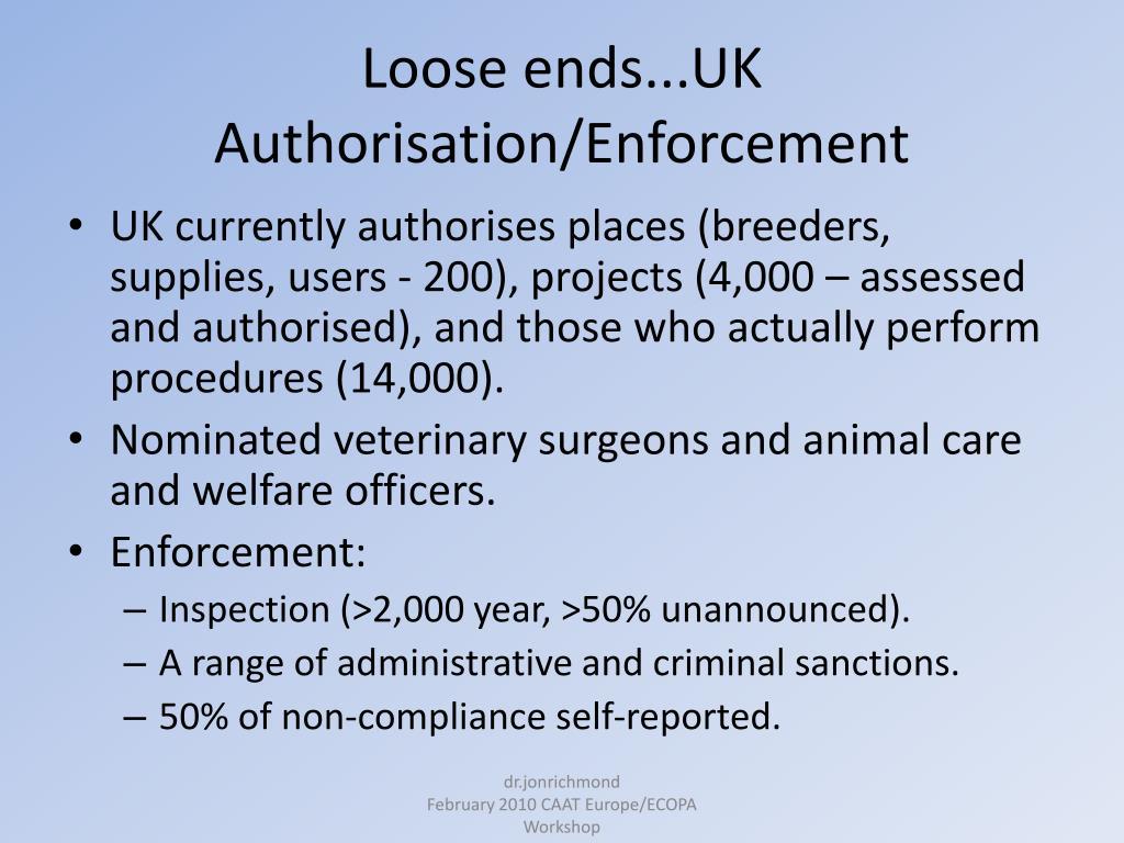 Loose ends...UK Authorisation/Enforcement
