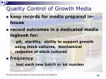 quality control of growth media