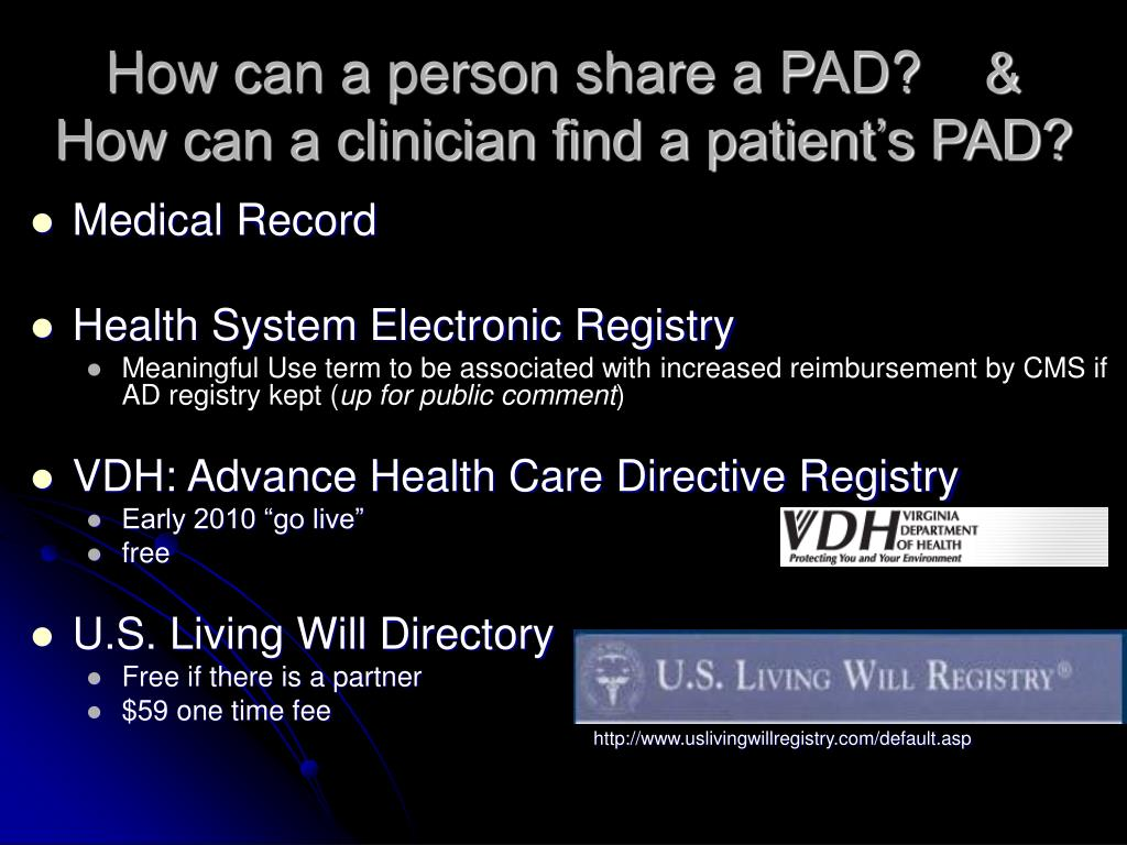 How can a person share a PAD?    &