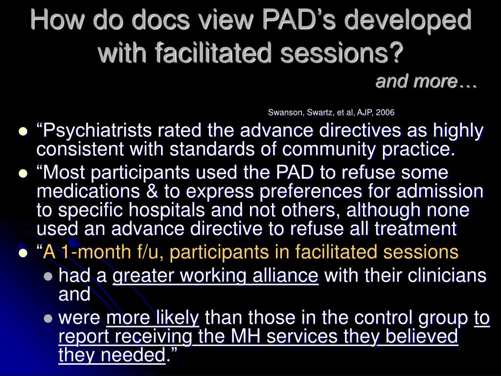 How do docs view PAD's developed with facilitated sessions?