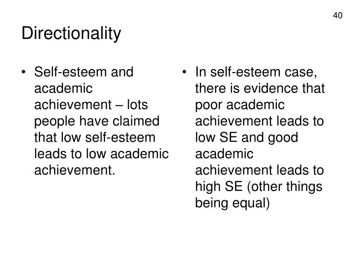 Self-esteem and academic achievement – lots people have claimed that low self-esteem leads to low academic achievement.