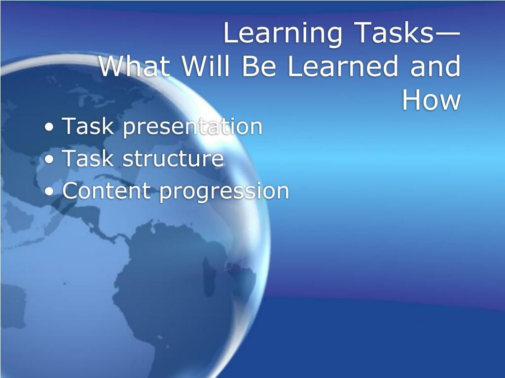 Learning Tasks—