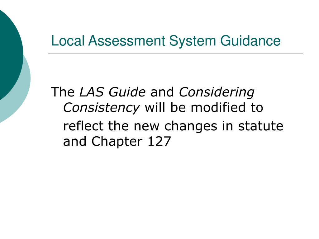 Local Assessment System Guidance