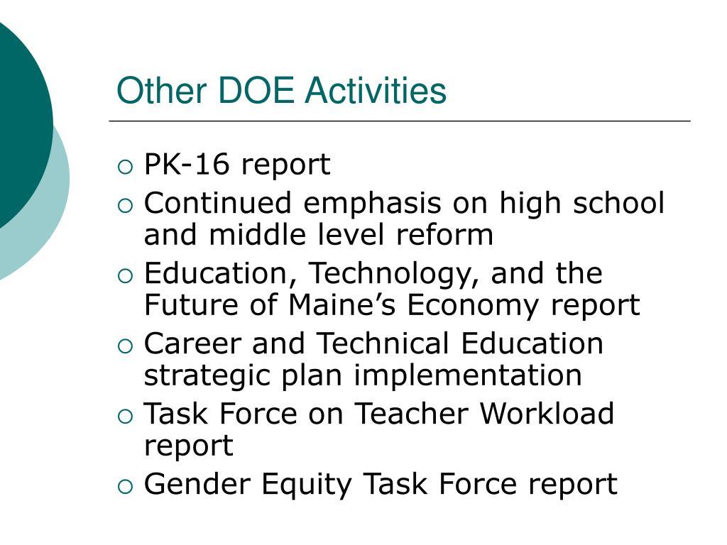 Other DOE Activities