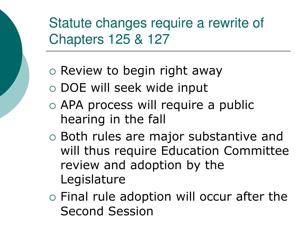 Statute changes require a rewrite of Chapters 125 & 127
