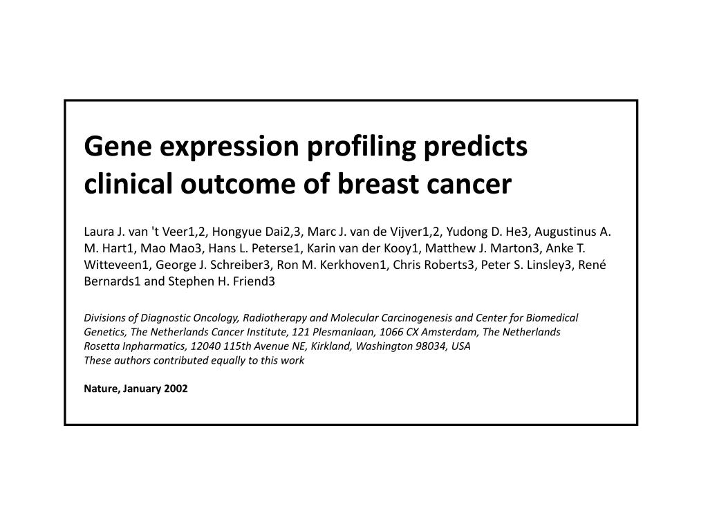Gene expression profiling predicts clinical outcome of breast cancer