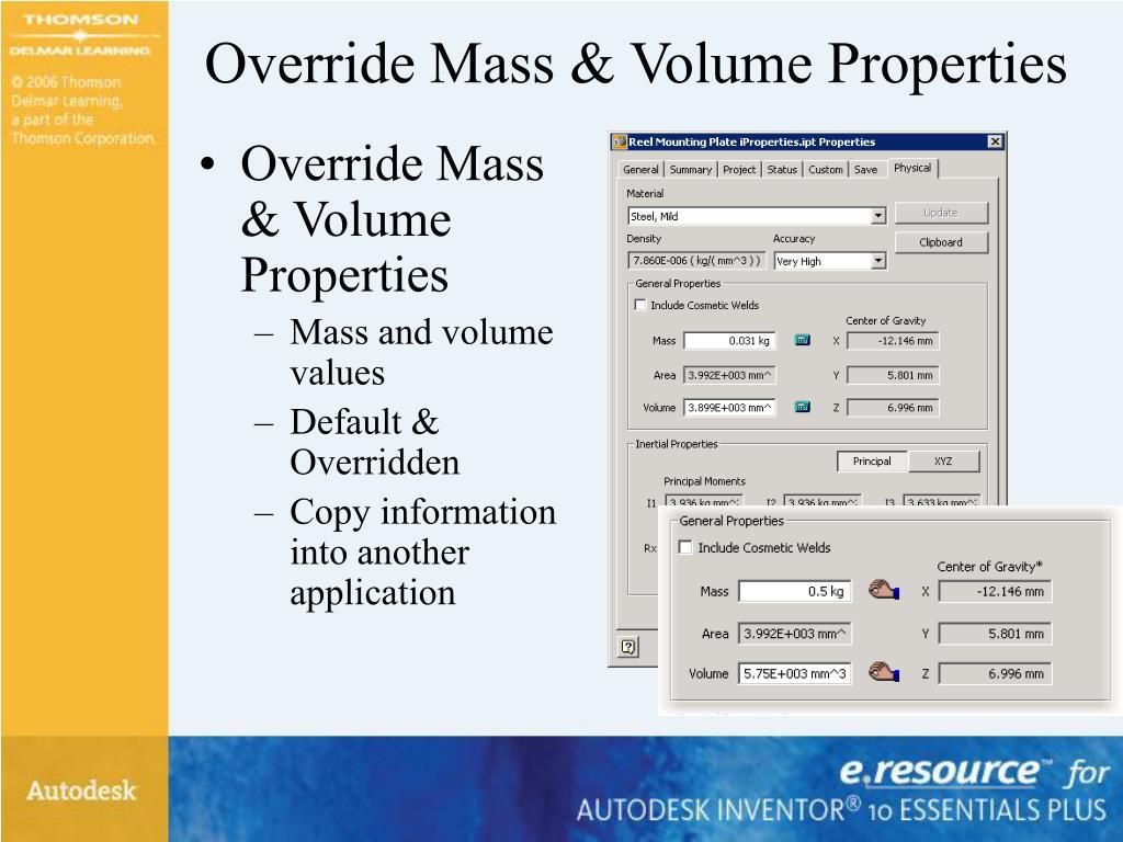Override Mass & Volume Properties