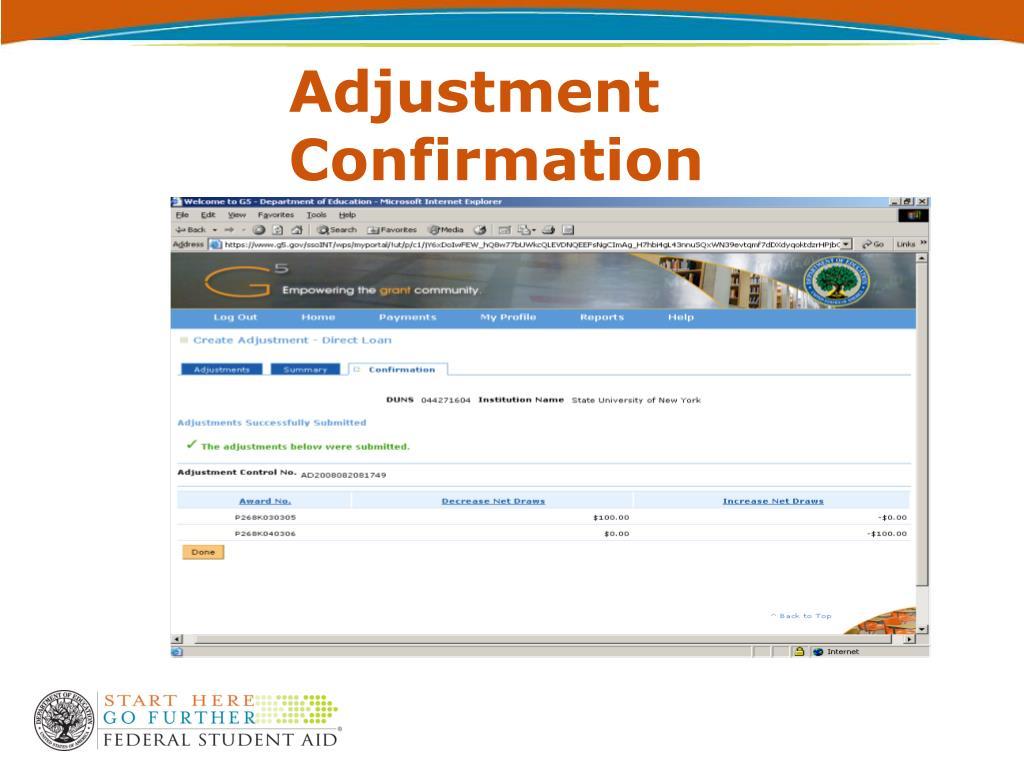 Adjustment Confirmation