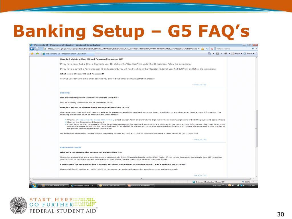 Banking Setup – G5 FAQ's