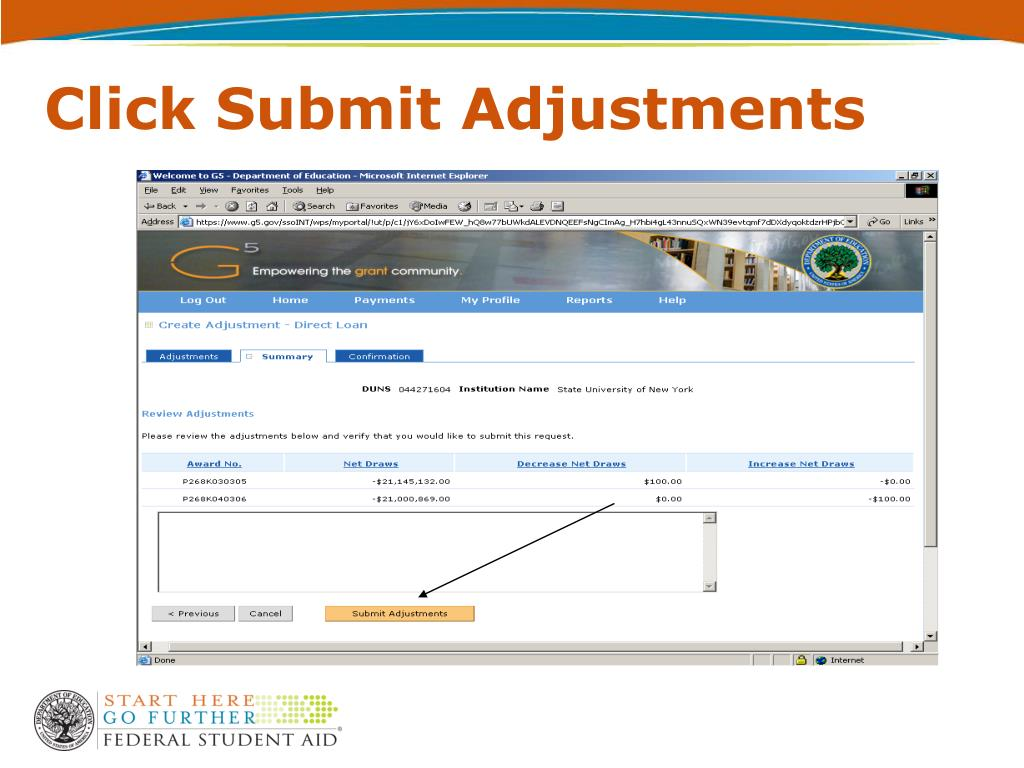 Click Submit Adjustments