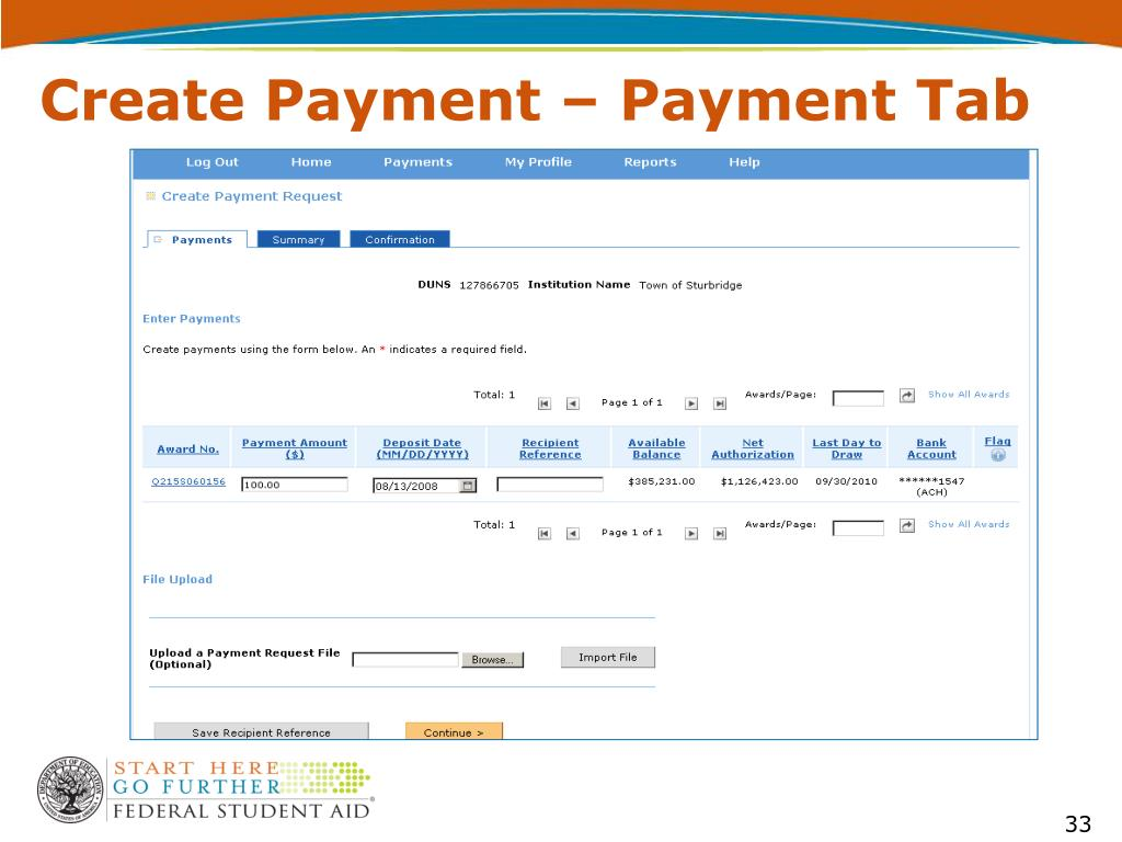 Create Payment – Payment Tab