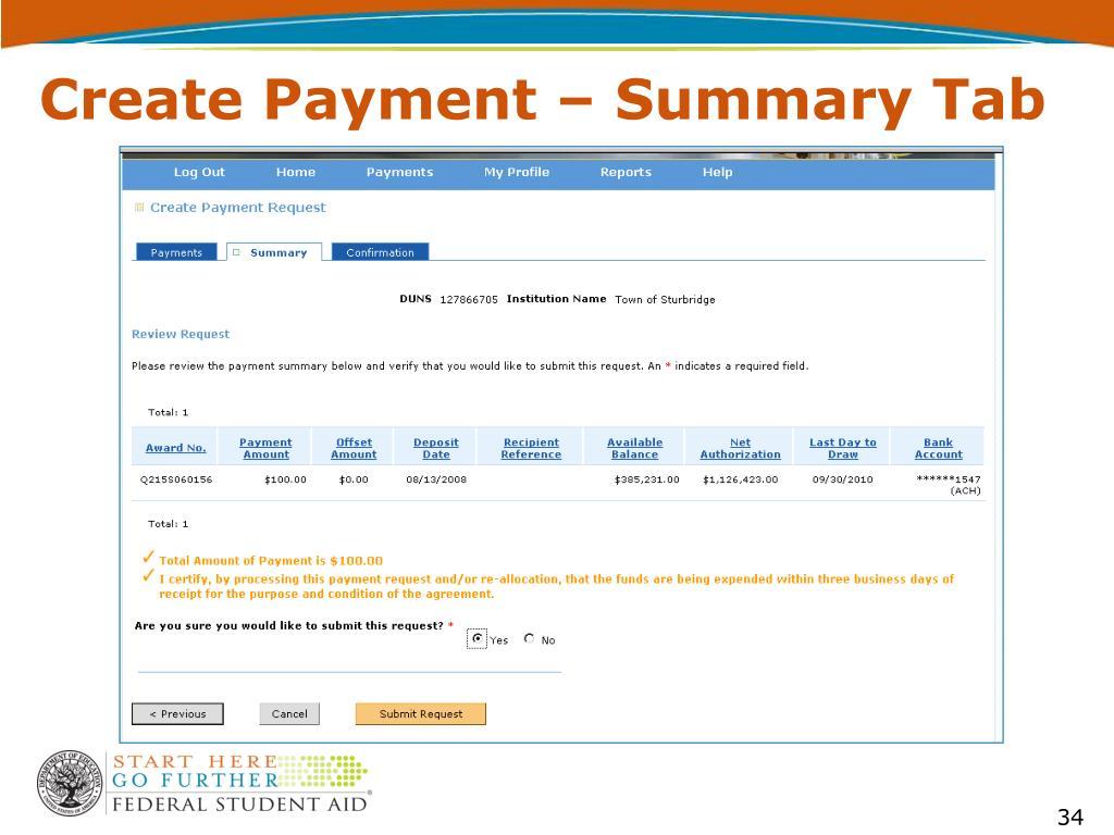 Create Payment – Summary Tab