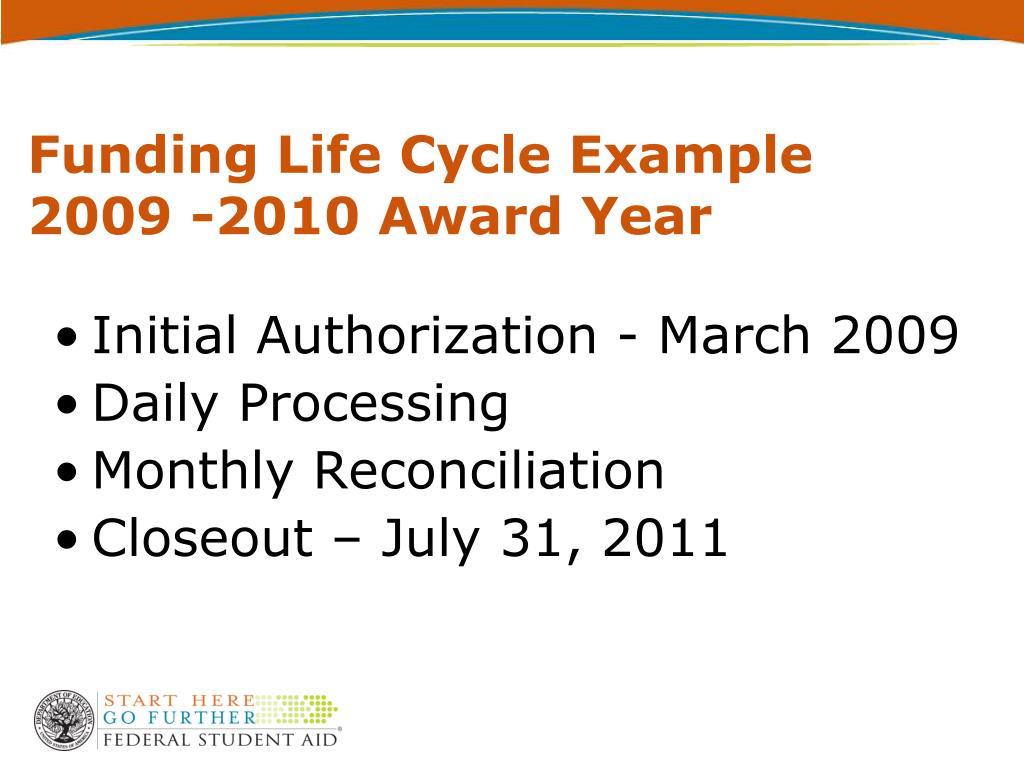 Funding Life Cycle Example 2009 -2010 Award Year